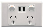 Double power point with dual usb outlets